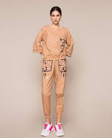 Blusa in popeline ricamo di paillettes Light Brown Donna 201ST2025-0T