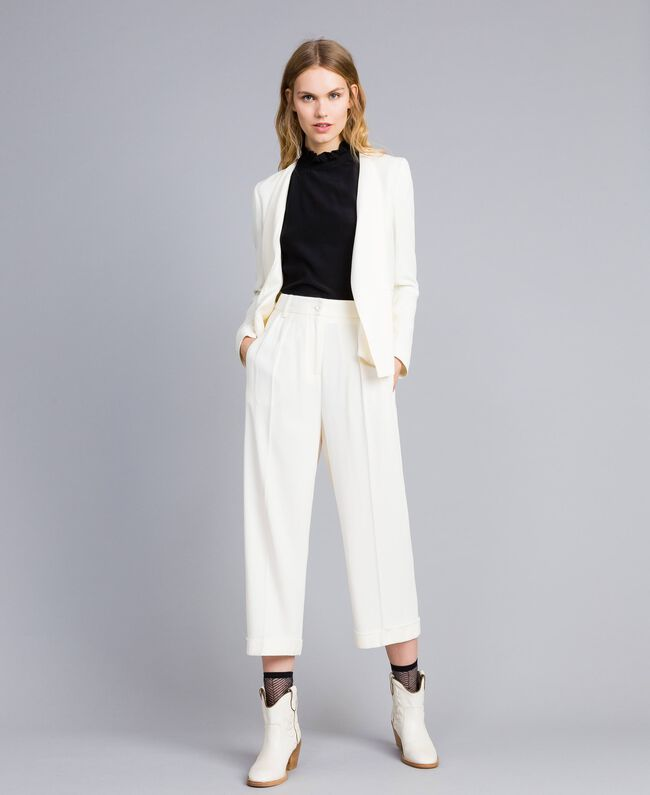 Pantaloni cropped in envers satin Bianco Neve Donna TA824K-01