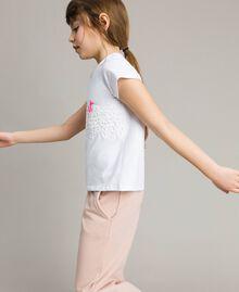 T-shirt en jersey orné de dentelle avec imprimé Blanc Enfant 191GJ2040-02