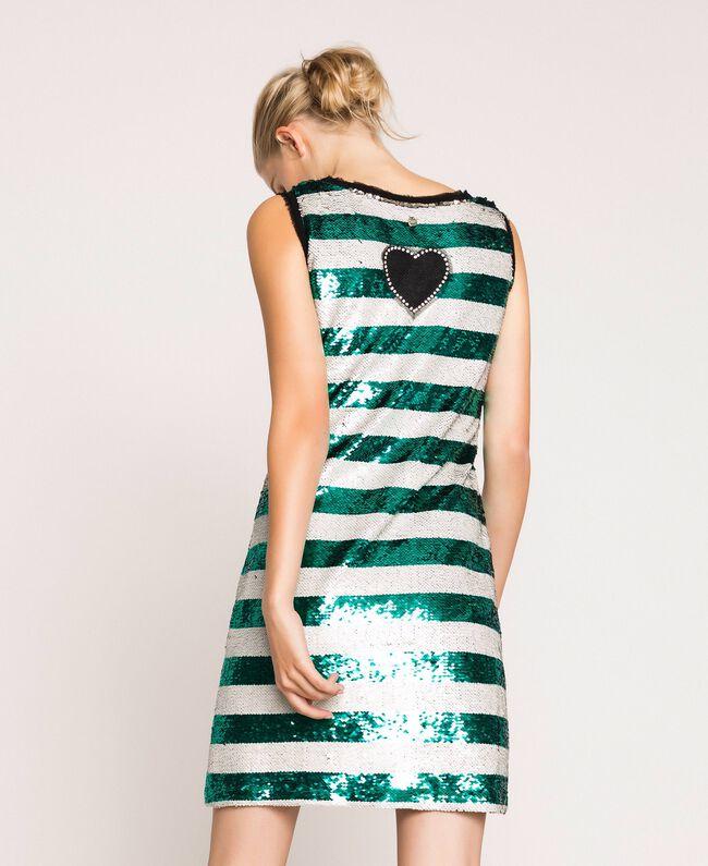 "Full sequin two-tone stripe dress Pale Emerald Sequin / ""Silk"" White Stripes Woman 201ST2222-03"