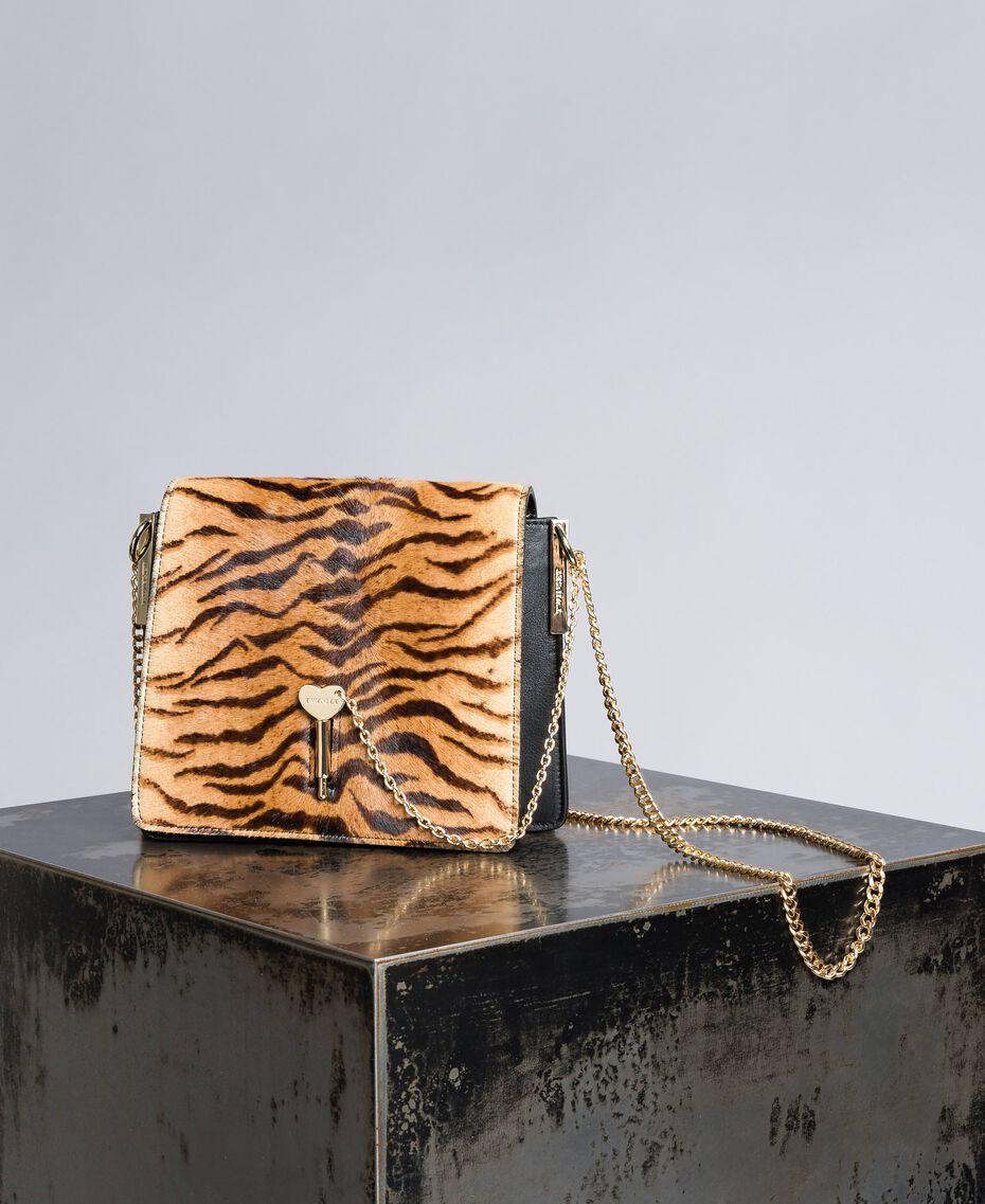 Sac à bandoulière en cuir et cuir effet poulain Imprimé Tigre Femme OA8TDT-01