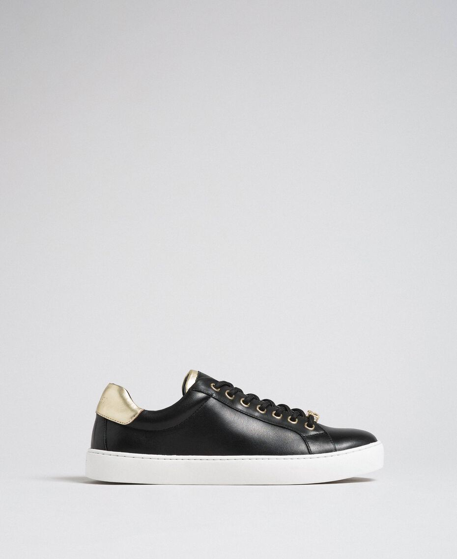 Leather trainers with contrasting details Black Woman 192TCP06E-03