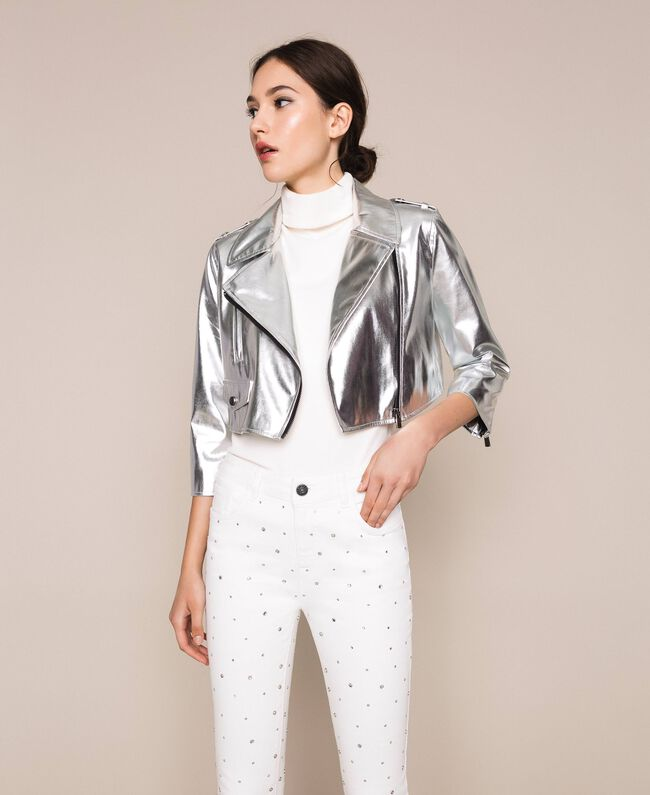 Cropped jacket in metal faux leather Silver Woman 201TP2410-01