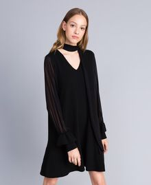 Knitted dress with georgette sleeves Black Woman TA8331-01