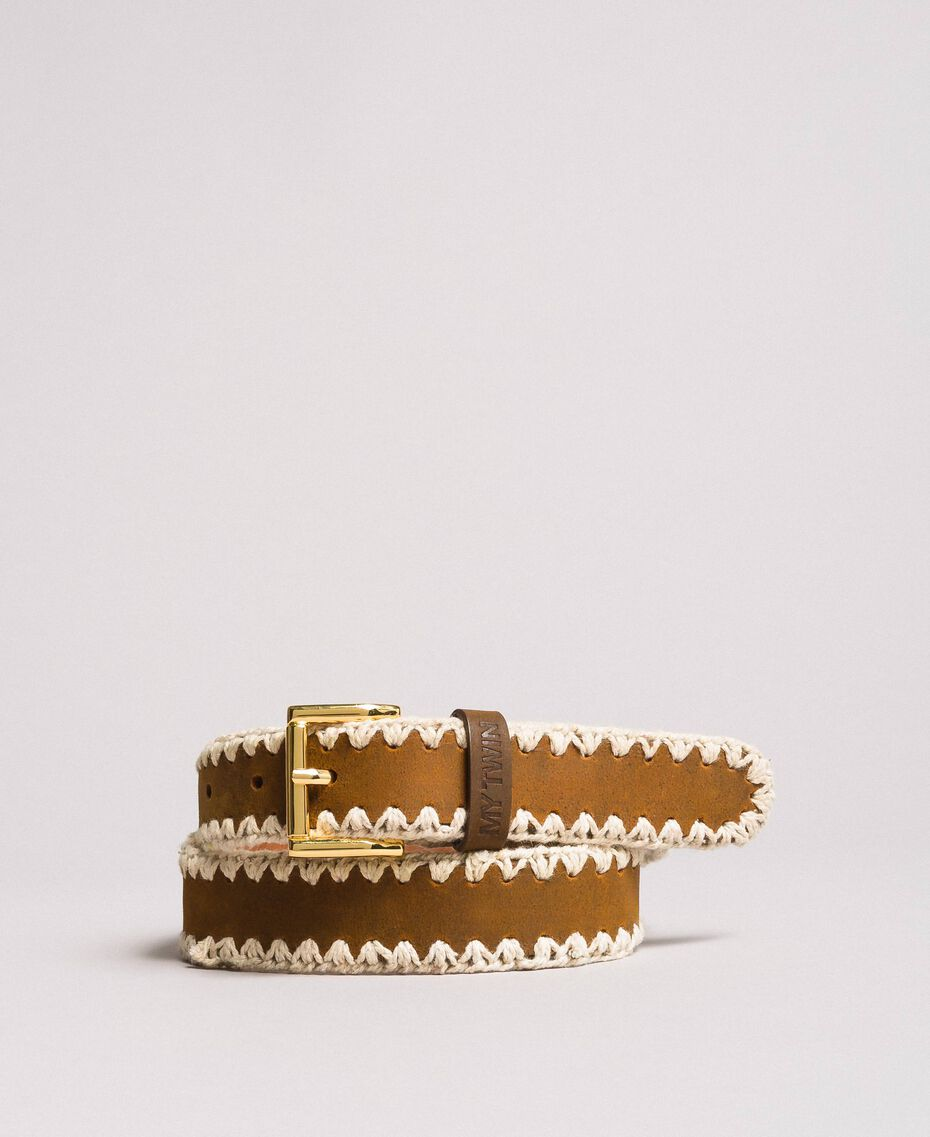 Leather belt with logo Leather Brown Woman 191MO5330-01