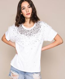 T-shirt with embroidered tulle White Woman 201TP2061-01