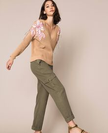 "Boxy jumper with floral patches and embroideries Dark ""Cremino"" Beige Woman 201TP3170-02"