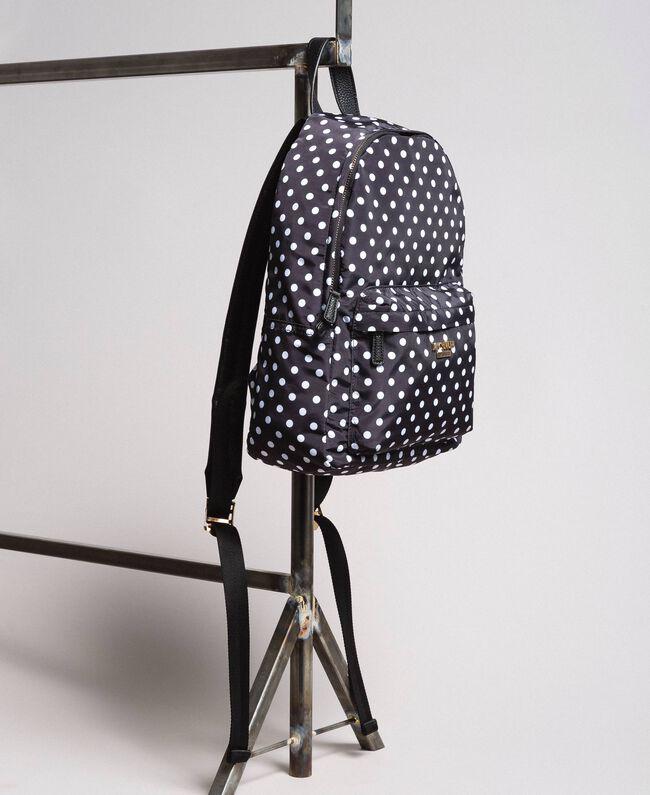 Technical fabric polka dot backpack White / Black Polka Dot Print Woman 191MA7122-03
