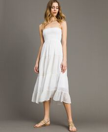 Skirt-dress with broderie anglaise White Woman 191LB2EDD-05