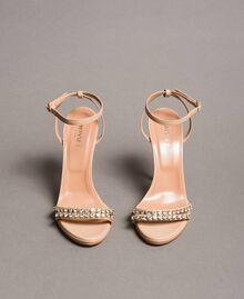 Leder-Sandalen mit Strasssteinen Nudebeige Frau 191TCT012-05