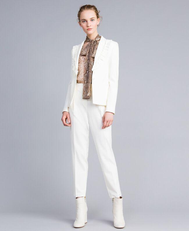 Jacke aus Interlock-Jersey mit Rüschen Weiß Schnee Frau PA821A-0T