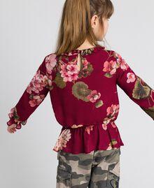 Bluse aus Georgette mit Blumenprint Print Rote-Bete-Rot Geranie Kind 192GJ2591-03