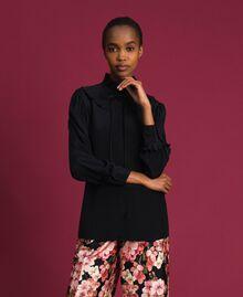 Crêpe de Chine silk blend shirt Black Woman 192TP2100-05