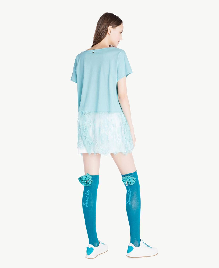 Flower thigh-highs Turquoise Woman AS8P6N-05