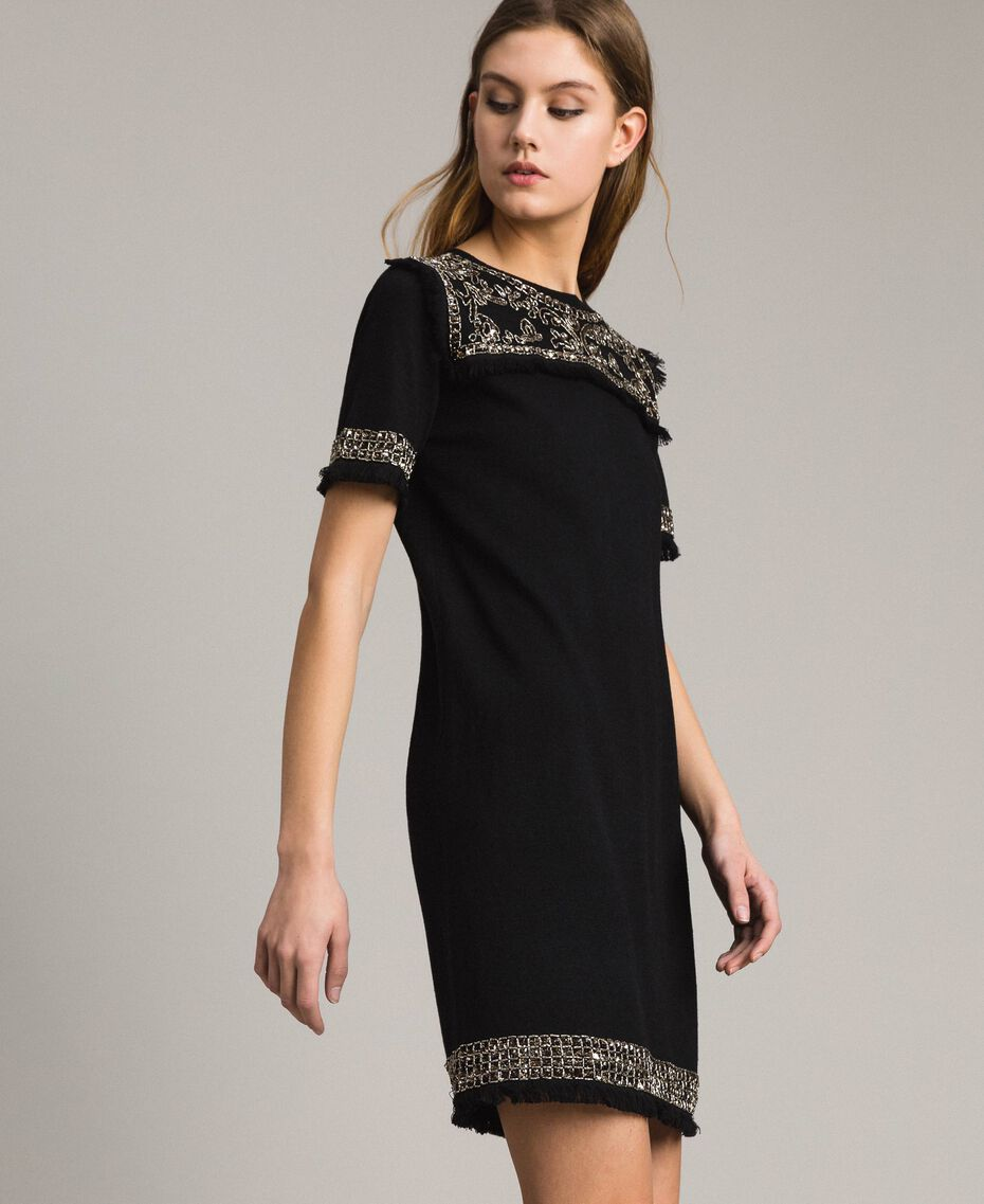 Embroidered linen blend dress with fringed trim Black Woman 191TT3050-01