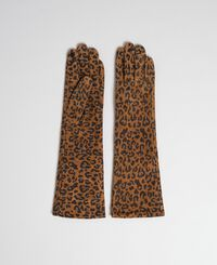 Long gloves in animal print leather
