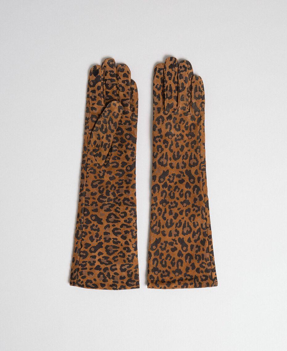 Gants longs en cuir avec imprimé animalier Imprimé Léopard Femme 192MA4302-01