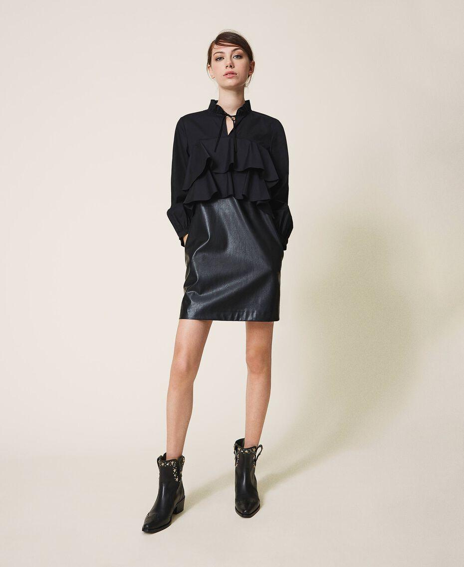 Мини-платье из поплина и искусственной кожи Черный женщина 202ST2052-01