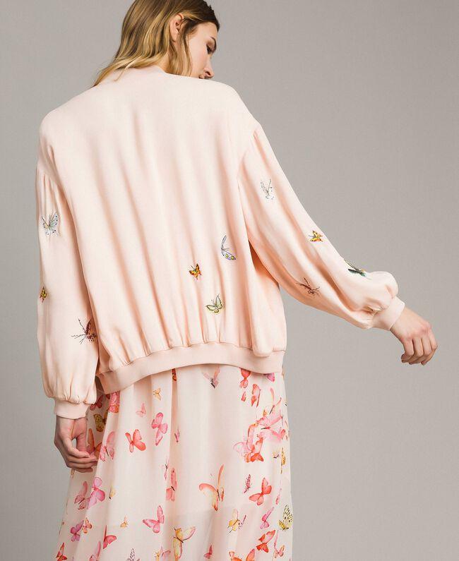 """Satin-Bomberjacke mit Schmetterlings-Stickerei """"Rose Sand"""" Pink Frau 191TT2111-04"""