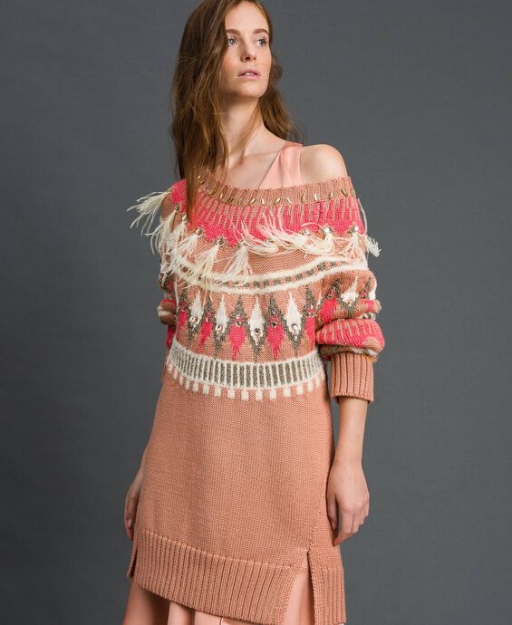 Maxi jacquard jumper with embroideries and feathers