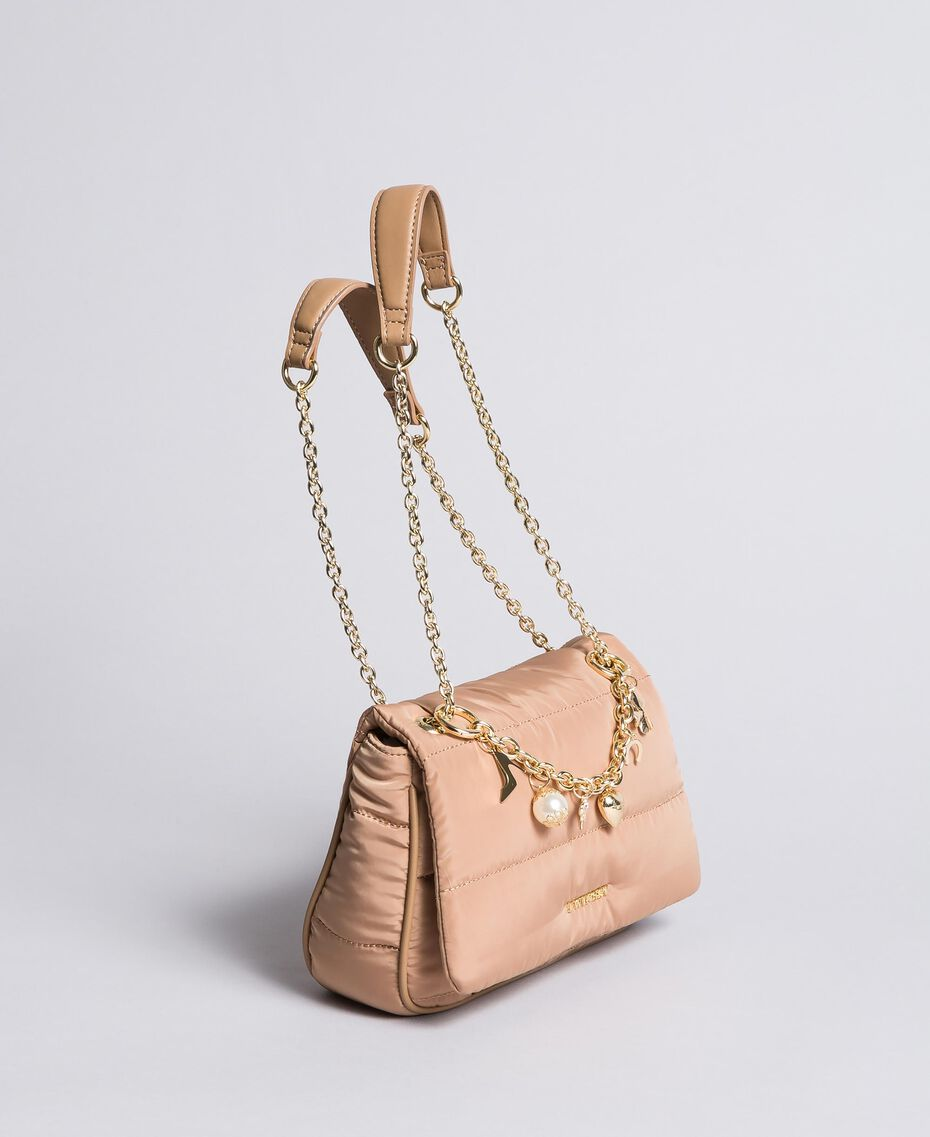 Nylon shoulder bag with chain and charms Camel Woman AA8PFC-02