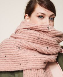"""Knit scarf with pearls and bezels """"Intense Nude"""" Pink Woman 202TO5111-0T"""
