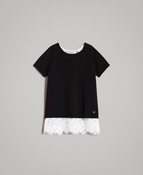 Cotton jumper and lace top