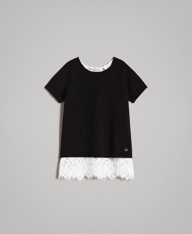 Pullover aus Baumwolle und Spitzen-Top Zweifarbig Schwarz / Off White Kind 191GJ3020-01