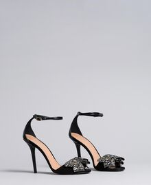 Sandalette aus Veloursleder mit Schleife Schwarz Frau CA8PG1-03