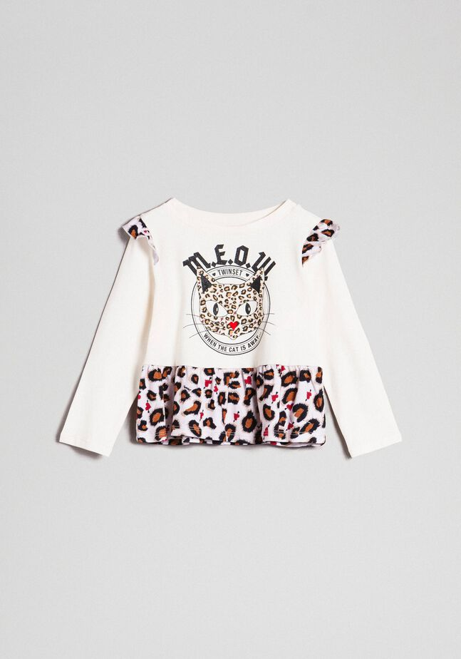 T-shirt with print and flounce at the hem