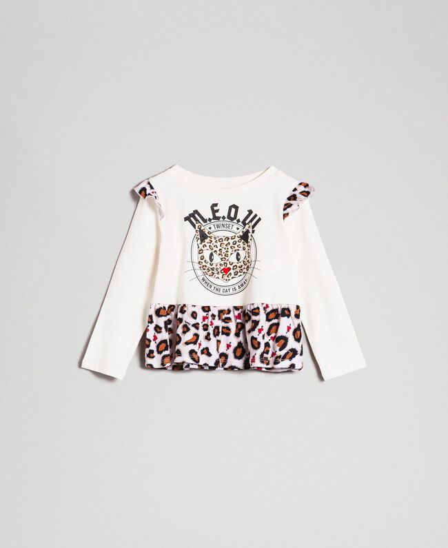 T-shirt with print and flounce at the hem Chantilly / Leopard Print Child 192GB2440-01