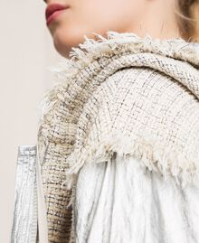 Laminated bomber jacket with bouclé fabric Multicolour Ivory / Silver Grey Woman 201TP2220-04