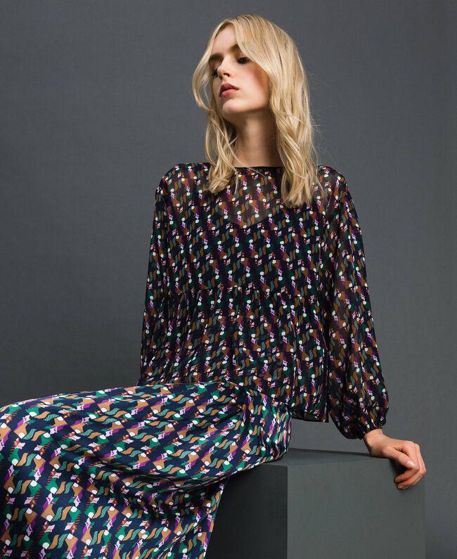Bluse aus bedrucktem Georgette mit Unterhemd Geometrischer Fuchsprint Frau 192ST2151-01