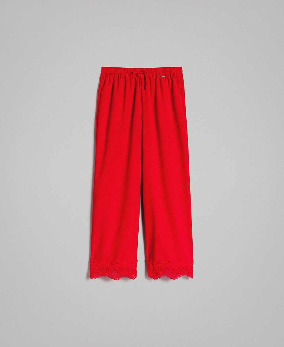 Crêpe de Chine trousers with lace Poppy Red Woman 191ST2067-0S