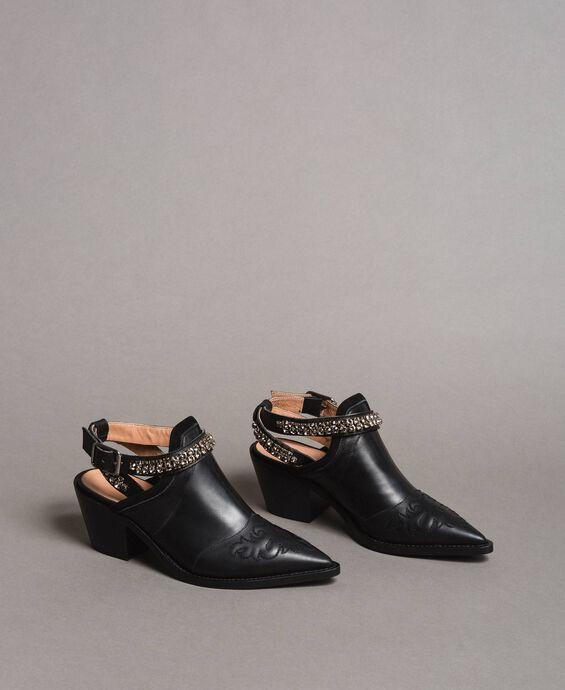 Texanische Leder-Sabot-Schuhe mit Strasssteinen