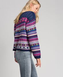 "Multicolour jacquard jumper with embroidery ""Pink Gloss"" Jacquard Woman 192MT3050-03"