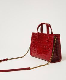 """Small leather Twinset Bag with crocodile print """"Cherry"""" Red Croc Print Woman 202TB7111-04"""