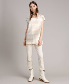 "Striped maxi t-shirt ""Savannah"" Beige / Off White Striped Print Woman 191ST2091-01"