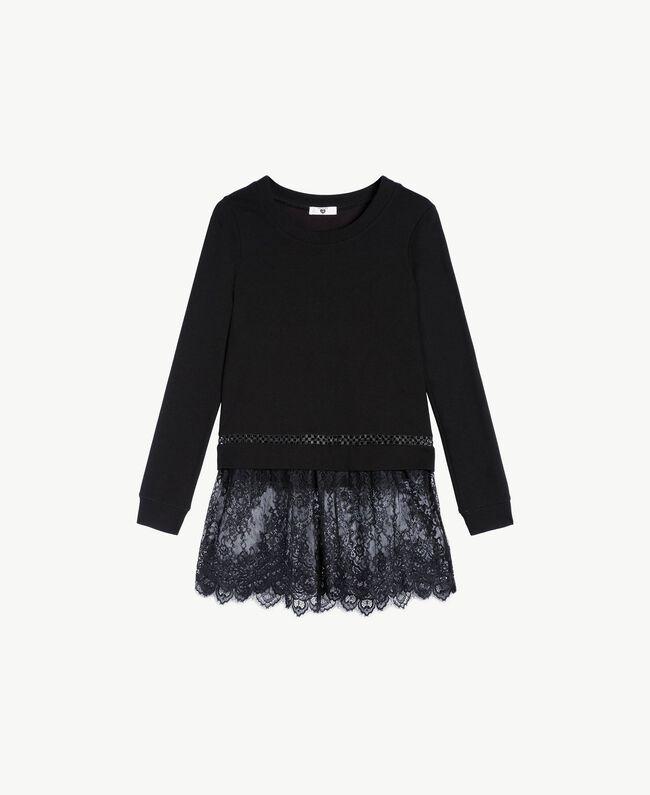 Sweatshirt aus Spitze Schwarz Frau LS8CFF-01