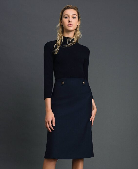 Ribbed knit and technical wool knit dress