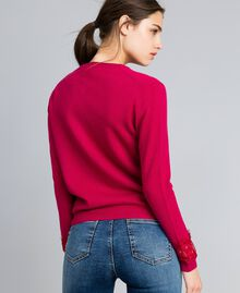 "Wool and cashmere mandarin collar top with lace ""Azalea"" Fuchsia Woman TA83AJ-04"
