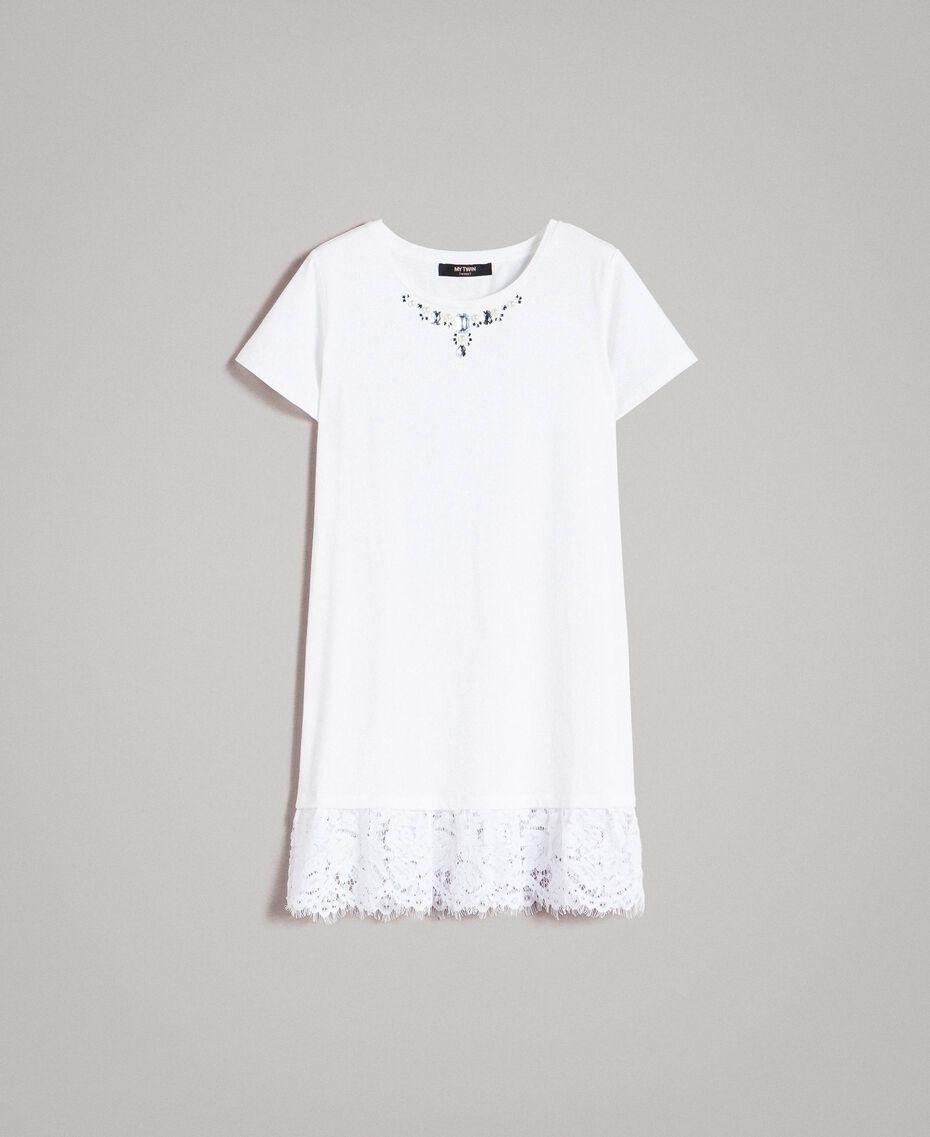 Maxi t-shirt avec broderie et dentelle Crème White Femme 191MP2065-0S