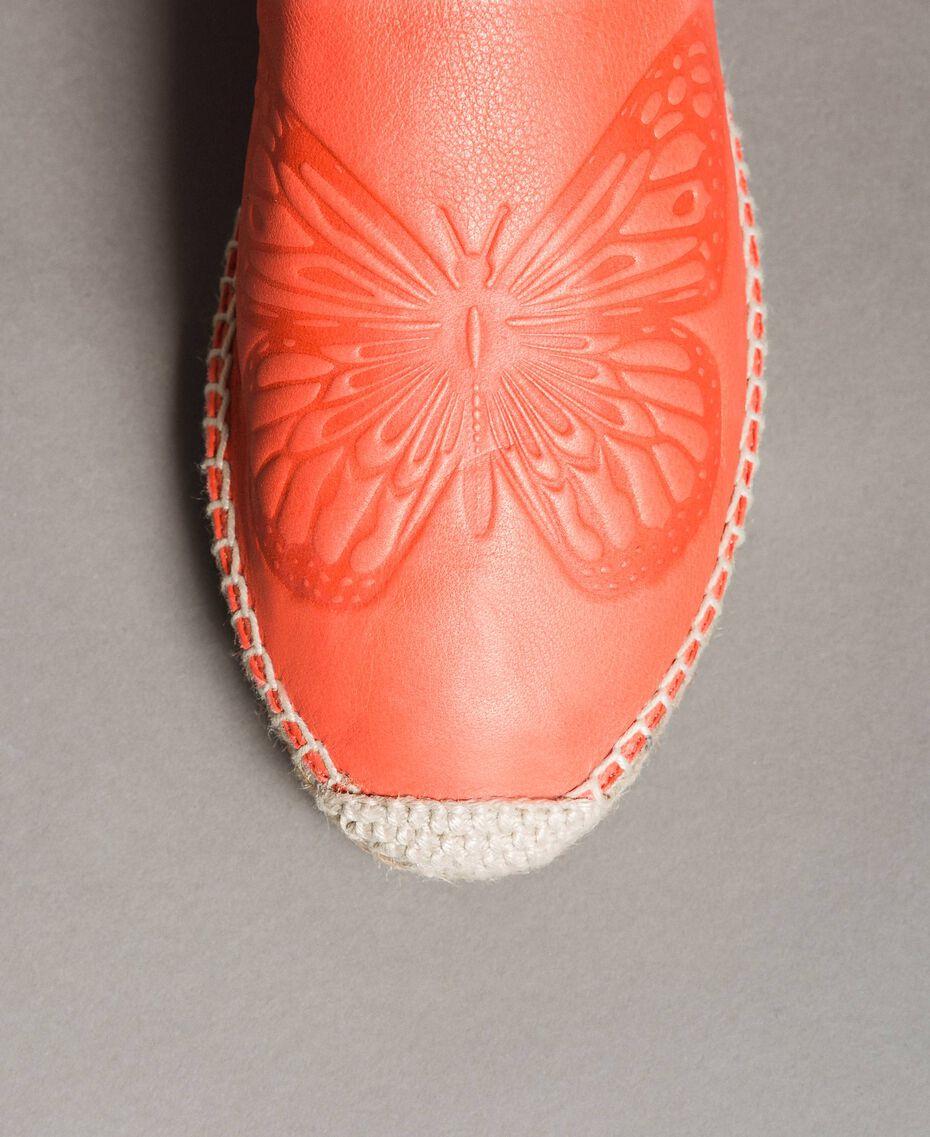 """Leder-Espadrilles mit Schmetterling """"Coral Geranium"""" Rot Frau 191TCT05A-02"""