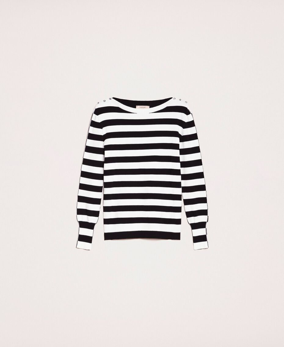 """Jumper with rhinestone buttons on the shoulders Black / """"Snow"""" White Stripes Woman 201TP3103-0S"""
