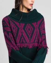 Jacquard knit dress with ethnic motif Ethnic Dark Green / Beet Red Jacquard Woman 192TP3041-03