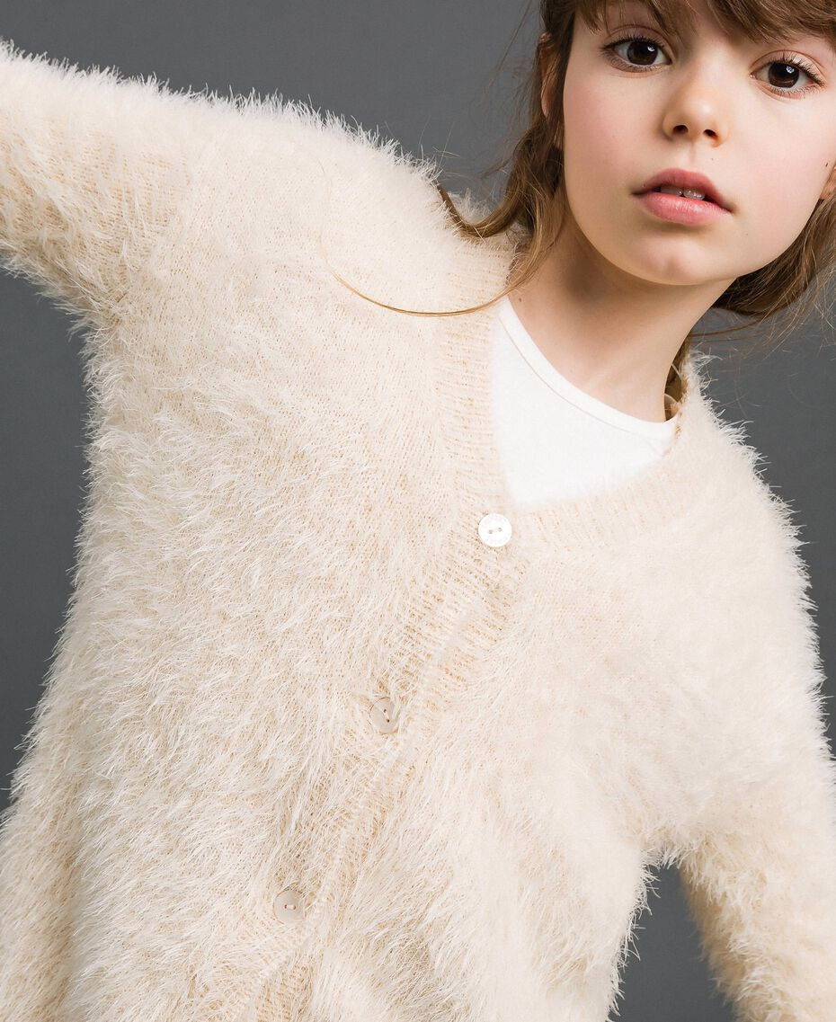 Maxi cardigan en fil effet fourrure Avoine Enfant 192GJ3060-05