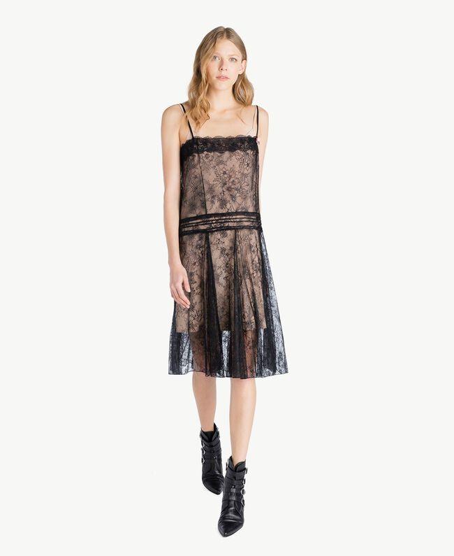 Kleid mit Spitze Schwarz Frau PS821G-01