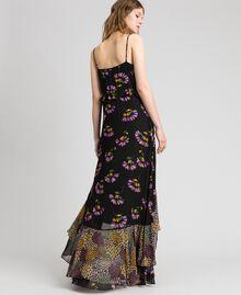 Slip dress with floral print Black Mixed Flowers Print Woman 192TT2144-03