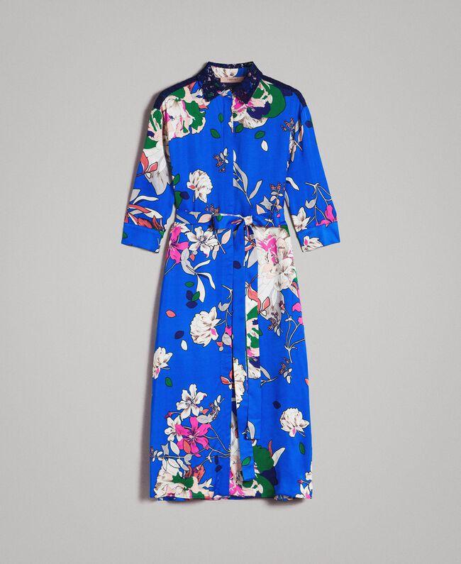 online store 2a182 2bb5d Satin-Hemd-Kleid mit Blumenmuster Frau, Fantasie | TWINSET ...