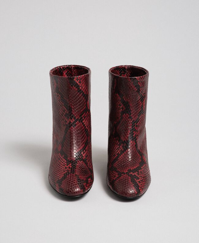 Stiefelette aus Leder mit Animal-Dessin Pythonprint Rote-Bete-Rot Frau 192TCP12Q-05